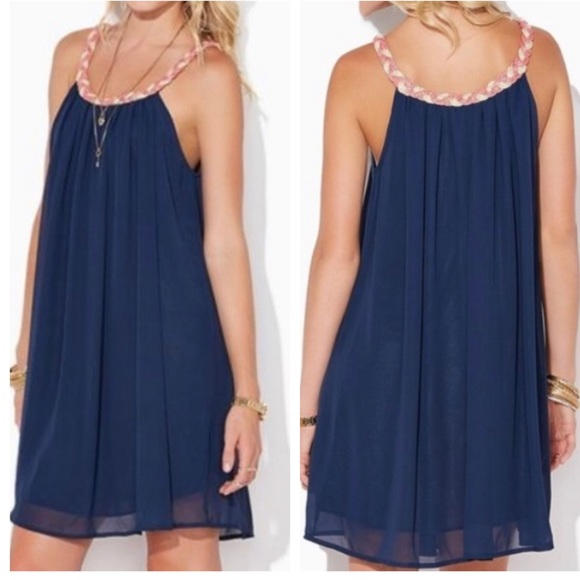 Charming Charlie Dresses & Skirts - Charming Charlie White & Navy Sleeveless Dress